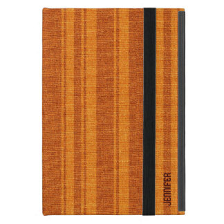 Monogramed Linen Texture Orange And Brown Stripes Covers For iPad Mini