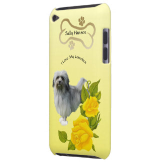 Monogramed Lowchen and Yellow Roses Barely There iPod Case