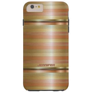 Monogramed Metallic Copper Stripes Gold Accents Tough iPhone 6 Plus Case