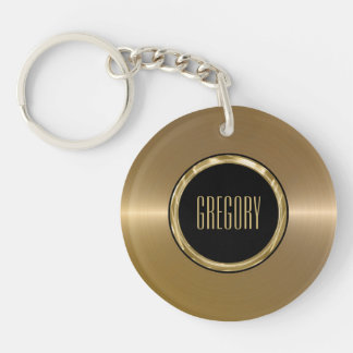 Monogramed Metallic Gold Stainless Steel Look 2 Keychain