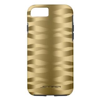 Monogramed Metallic Gold Wavy Zebra Stripes iPhone 7 Case