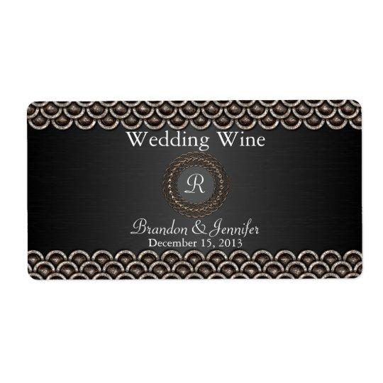 Monogramed Metallic Look Wedding Mini Wine Labels