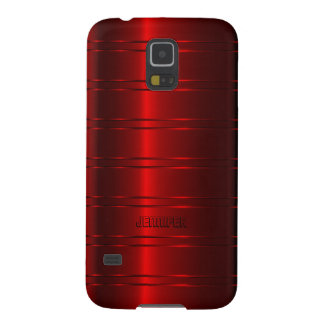 Monogramed Metallic Red Stripes Pattern Galaxy S5 Case