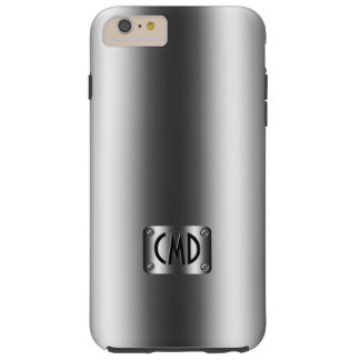 Monogramed Metallic Silver Gray With Rivets Tough iPhone 6 Plus Case