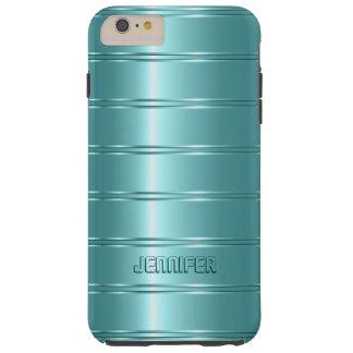 Monogramed Metallic Teal-Green Stripes Pattern Tough iPhone 6 Plus Case