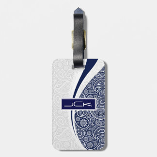 Monogramed Navy Blue And White Vintage Paisley Luggage Tag