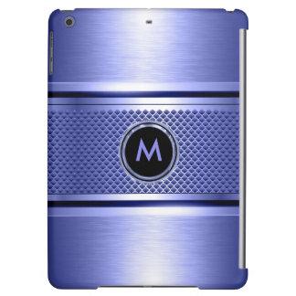 Monogramed Pastel Blue Metallic Design Cover For iPad Air