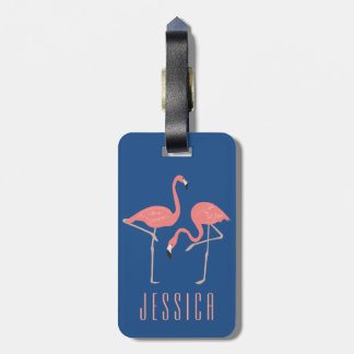Monogramed Pink Flamingo Illustration Luggage Tag