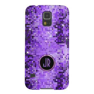 Monogramed Purple Disco-Ball Glitter Galaxy S5 Cover