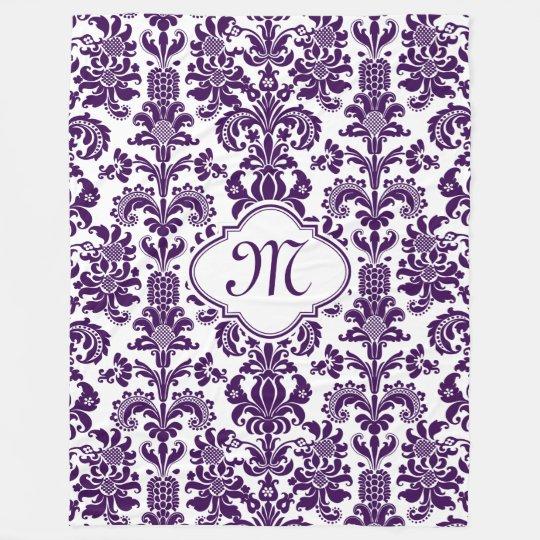 Monogramed Purple Floral Damasks White Background Fleece Blanket