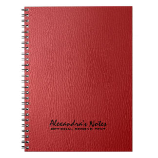 Monogramed Red Leather Texture Look Notebooks