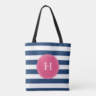 Monogramed sailor's tote bag