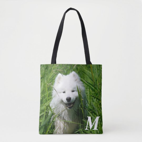 Monogramed Samoyed In Grass Tote. Tote Bag