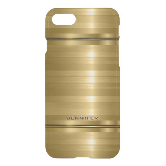 Monogramed Shiny Metallic Gold Stripes iPhone 7 Case