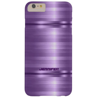 Monogramed Shiny Metallic Purple Stripes Barely There iPhone 6 Plus Case