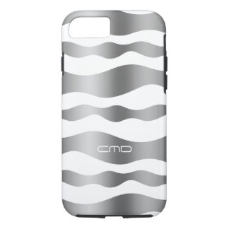 Monogramed Silver Wavy Stripes White Background iPhone 7 Case