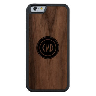 Monogramed Simple Black Circle Carved Walnut iPhone 6 Bumper Case