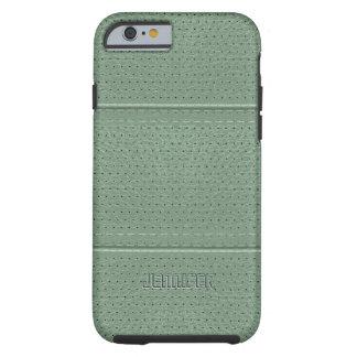 Monogramed Vintage Sage Green Faux Leather Tough iPhone 6 Case