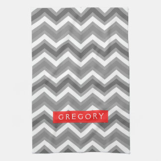Monogramed White And Gray Chevron Pattern 2 Kitchen Towel
