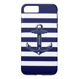 Monogramed White & Blue Stripes, Nautical Anchor iPhone 7 Plus Case