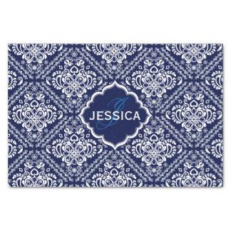 Monogramed White Floral Damasks & Blue Background Tissue Paper