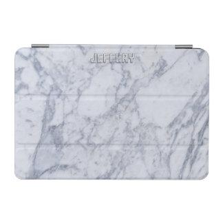 Monogramed White Marble Stone Pattern iPad Mini Cover