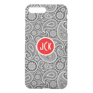 Monogramed White On Gray Retro Paisley Pattern iPhone 7 Plus Case