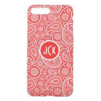 Monogramed White On Red Retro Paisley Pattern iPhone 7 Plus Case
