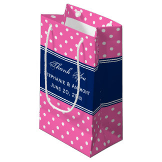 MonogramHot Pink, White Polka Dot with Royal Blue Small Gift Bag