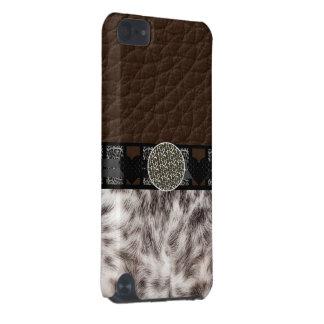 Monogramme animal de léopard de coeur de fourrure coque iPod touch 5G