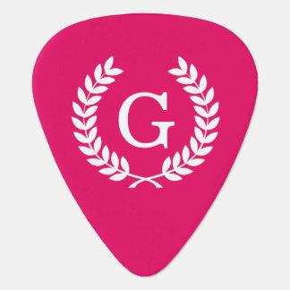 Monogramme blanc d'initiale de guirlande de onglet de guitare