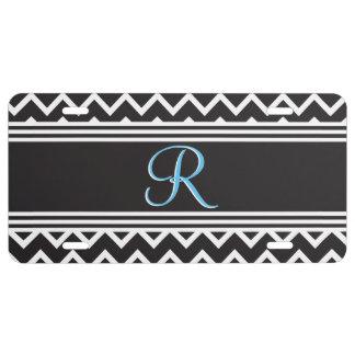 Monogramme blanc noir de Chevron de zigzag de Goth Plaque D'immatriculation