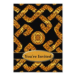 Monogramme celtique d'armure de tigre sauvage carton d'invitation  12,7 cm x 17,78 cm
