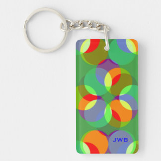 Monogramme coloré de boules et de formes de porte-clé rectangulaire en acrylique double face