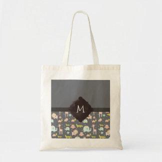 Monogramme coloré mignon d'art de crèche d'animaux sac en toile budget