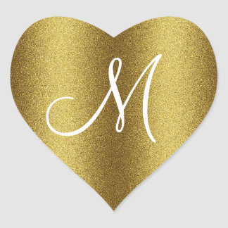 Monogramme d or de scintillement autocollants en cœur