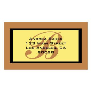 monogramme de brun jaune cartes de visite personnelles