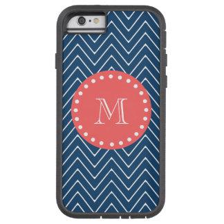 Monogramme de corail du motif | de Chevron de bleu Coque iPhone 6 Tough Xtreme