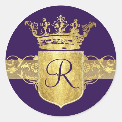 Monogramme de couronne, tons d'or autocollants ronds