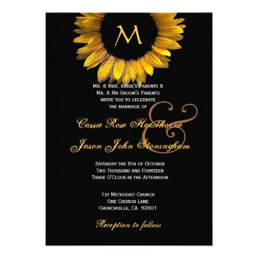 Monogramme de coutume de mariage de tournesol d'or invitation personnalisable