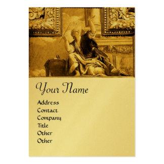 Monogramme de dialectique, jaune métallique d'or cartes de visite personnelles