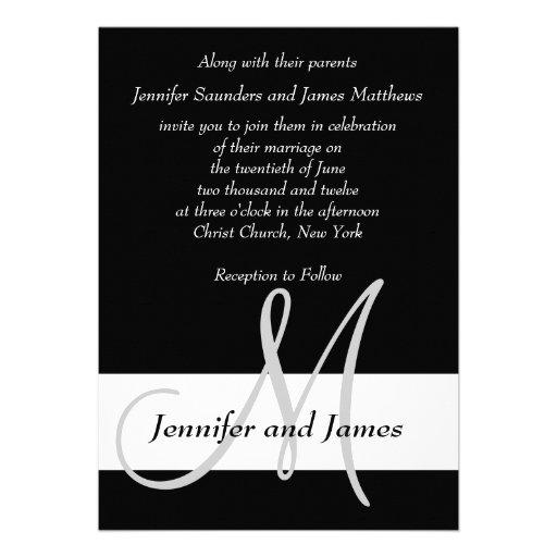 Monogramme de faire-part de mariage noir et blanc