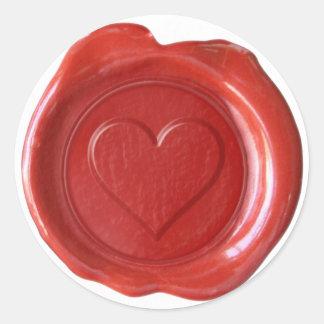 Monogramme de joint de cire - coeur rouge - autocollant rond
