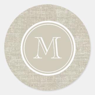 Monogramme de toile beige rustique d'arrière - sticker rond
