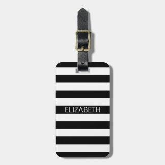 Monogramme de très bon goût horizontal blanc noir étiquette pour bagages