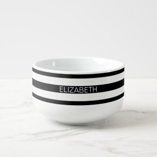 Monogramme de très bon goût horizontal blanc noir mug à potage