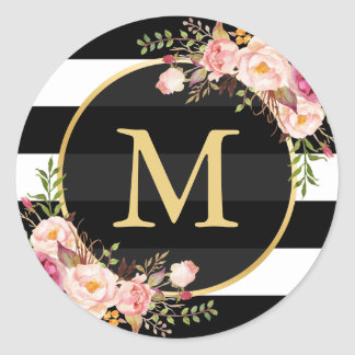 Monogramme d'or avec Deco floral rayé blanc noir Sticker Rond