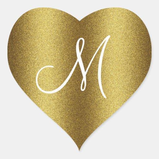 Monogramme d'or de scintillement autocollants en cœur