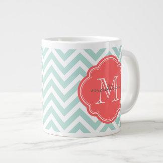 Monogramme en bon état et de corail de coutume de  mug jumbo