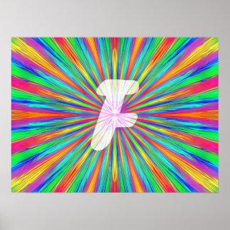 Monogramme F d'éclat d'arc-en-ciel Poster